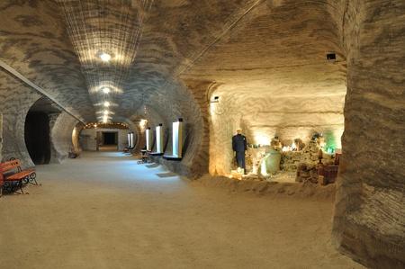 Museum (Underground) in salt mine. Ceiling, floor and wall - it is salt. Ukraine.
