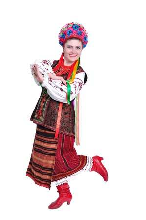 Young woman in traditional ukrainian  russian  costume  Isolated on white