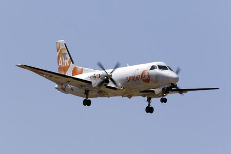 Luqa, Malta June 29, 2017: Sprint Air Saab 340A(F) [SP-KPU] landing runway 31, arriving from Marseille, France on a cargo flight.