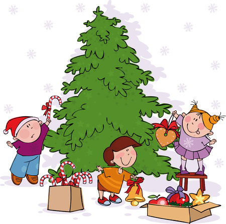 Little kids decorate a Christmas tree.