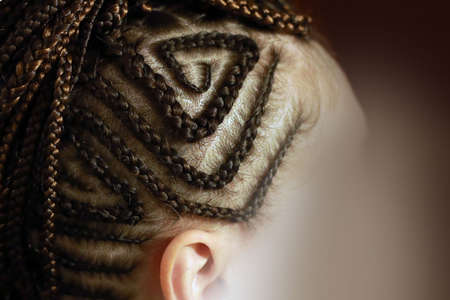 head of a girl with braided hair, small braids African-style on