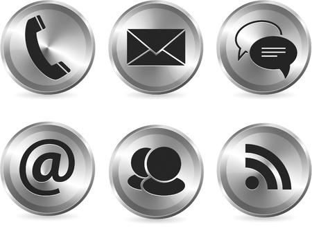Illustration pour Vector set of metallic stylish modern communication icons for web and print usage - image libre de droit