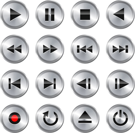 Metallic glossy multimedia control button icon set  Vector illustration