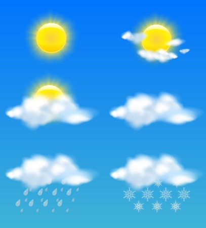 Realistic sun and clouds in weather icons set