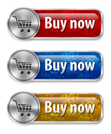 Metallic and glossy web elements/buttons with snowflakes background for online shopping.