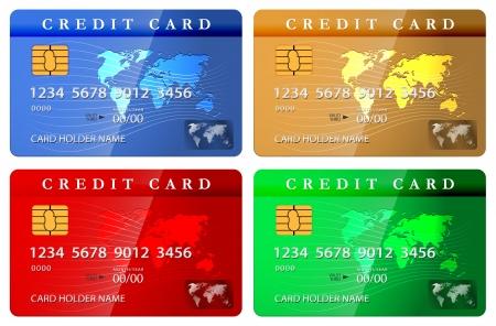 4 color credit or debit card design template. Vector illustration