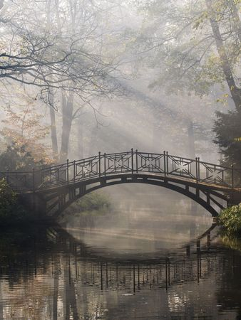 Mistic bridge in autumn park