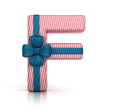 Colorful Letter F decorated with Ribbon isolated on white background. giftbox font. 3d render illustration