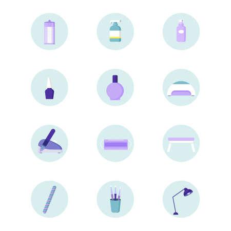 Ilustración de Manicure icons in simple style. Lamp for manicure, nail polish, cotton pads and nail files. Vector set - Imagen libre de derechos