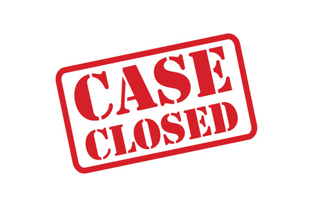 CASE CLOSED red rubber stamp vector over a white background.