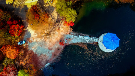 Photo for colorful aerial view of Autumn at Naejangsan National Park, South Korea. - Royalty Free Image