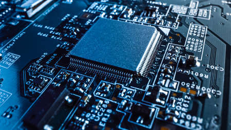 Photo for Close-up Macro Shot of a Microchip, CPU Processor with Printed Circuit Board Computer Motherboard with Components: Inside of Electronic Device, Parts of Supercomputer. - Royalty Free Image