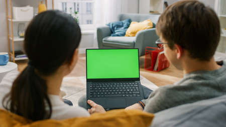 Photo pour Young Man and Woman at Home Using Green Mock-up Screen Laptop Computer While Sitting on Couch in Living Room. Couple in Love Talking and Watching TV Programme. Back View Shot. - image libre de droit