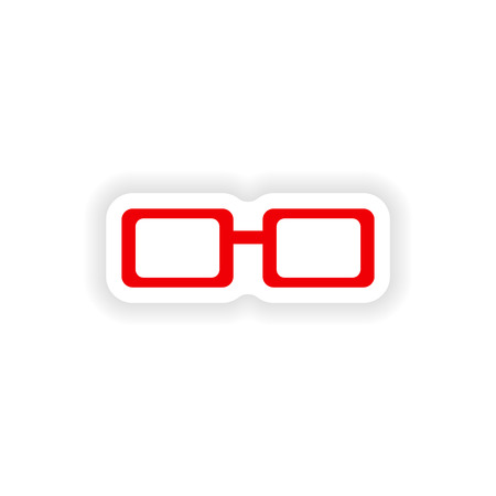 icon sticker realistic design on paper spectacles