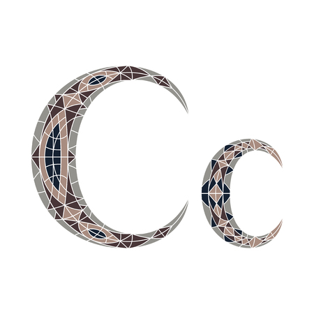 Low poly letter C in brown mosaic polygonの素材 [FY31046896930]