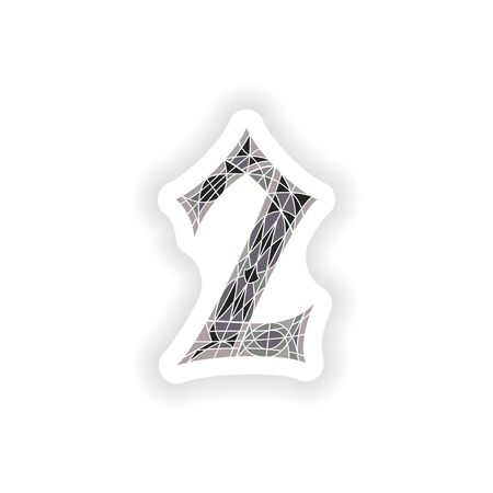 sticker Low poly number 2 in gray mosaic polygonの素材 [FY31047621234]