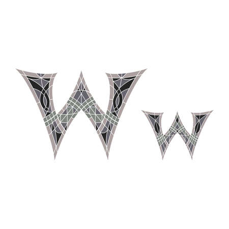 Low poly letter W in gray mosaic polygonの素材 [FY31049217087]