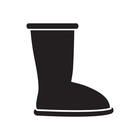 Flat icon in black and  white  ugg boots