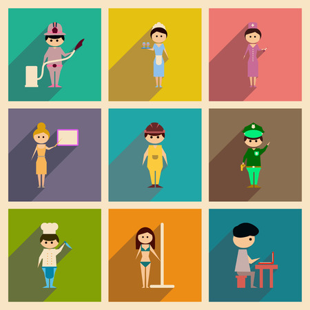 Concept of flat icons with long shadow people profession