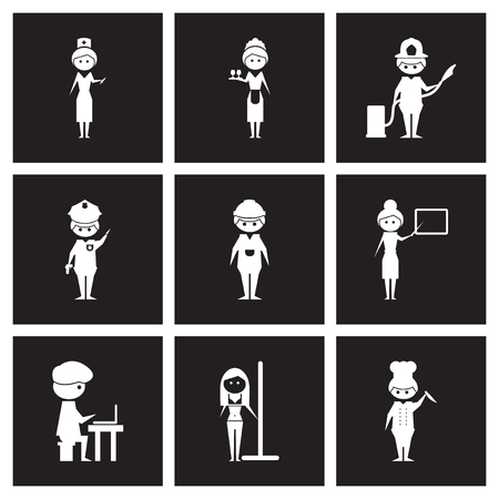 Concept flat icons in black and white professions