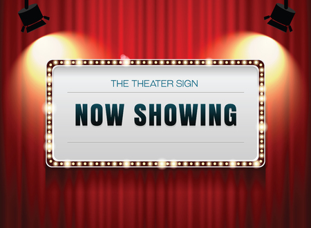 Illustration for theater sign on curtain - Royalty Free Image