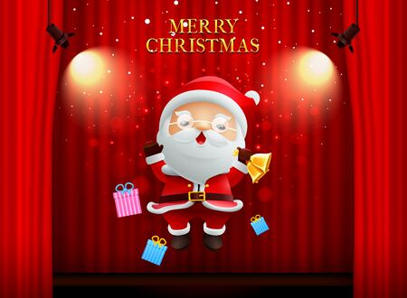 Ilustración de santa claus merry christmas happy newyear on stage background curtain with spotlight vector illustration - Imagen libre de derechos