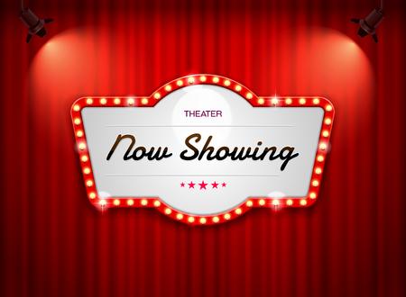 Illustration pour theater sign on curtain - image libre de droit