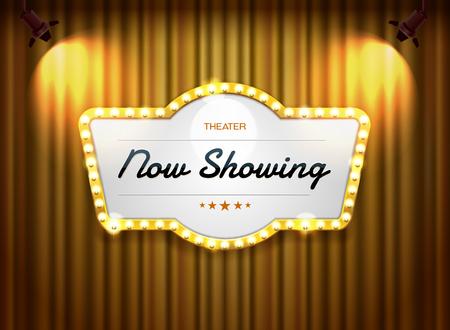 Illustration pour theater sign on curtain with spotlight vector illustration - image libre de droit