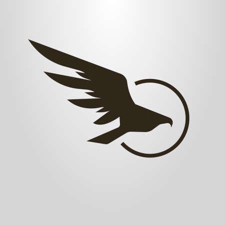 Black and white simple vector symbol of flight hawk