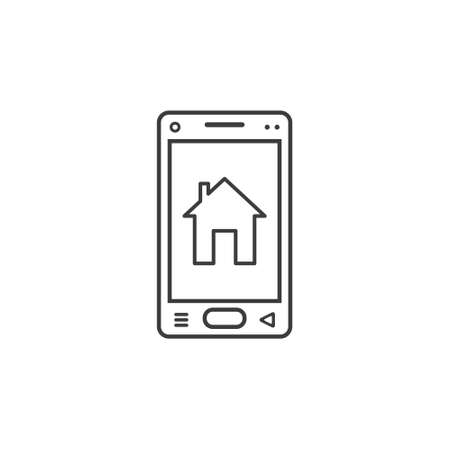 black and white line art icon of mobile phone with house sign