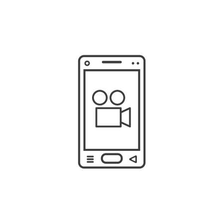 black and white line art icon of mobile phone with camcorder sign