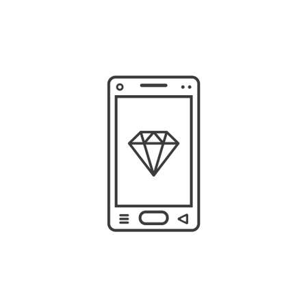 black and white line art icon of mobile phone with a diamond sign