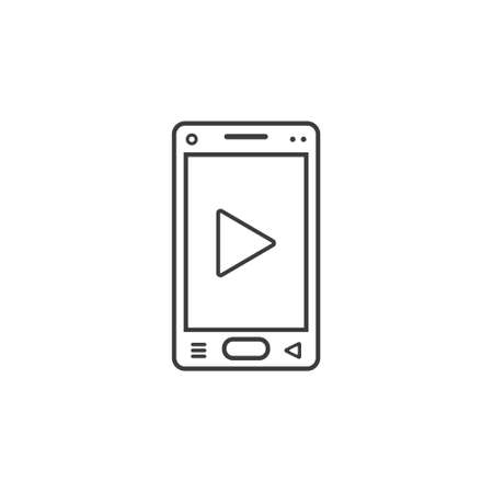 black and white line art icon of mobile phone with player sign