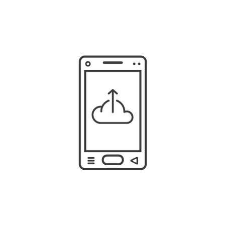 black and white line art icon of mobile phone with a sign of downloading from the cloud