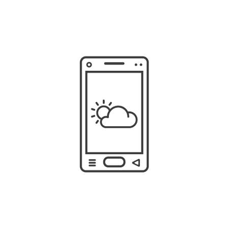 black and white line art icon of mobile phone with weather sign