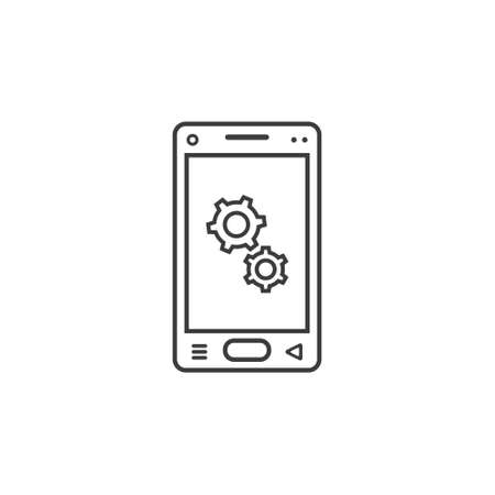 black and white line art icon of mobile phone with gear sign