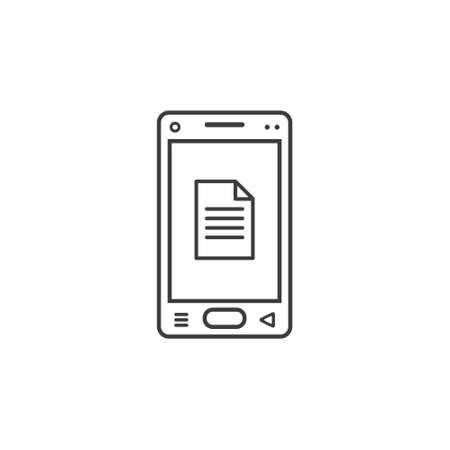 black and white line art icon of mobile phone with document sign