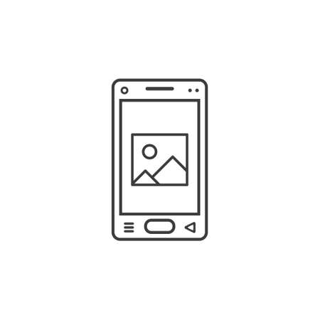 black and white line art icon of mobile phone with a sign of a picture