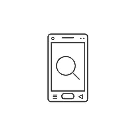 black and white line art icon of mobile phone with a magnifying glass