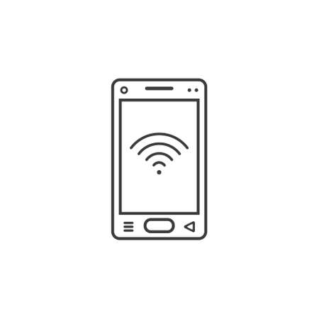 black and white line art icon of mobile phone with communication level sign