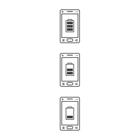 black and white line art icons of mobile phones with different strengths