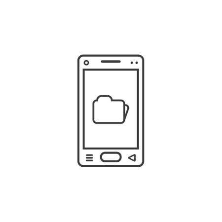 black and white line art icon of mobile smartphone with folder sign