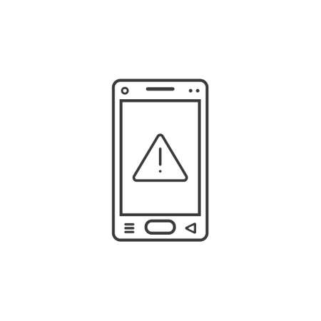 black and white line art icon of mobile phone with warning sign