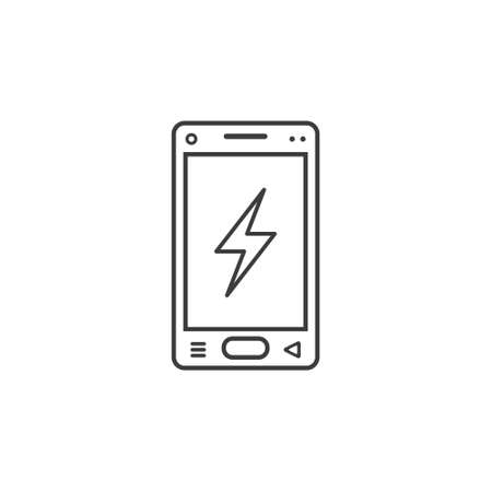 black and white line art icon of mobile phone with a sign of lightning