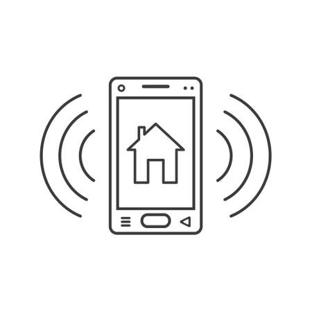 black and white line art ringing smartphone icon with house sign and wave waves