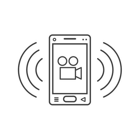 black and white line art ringing smartphone icon with camcorder sign and wave waves