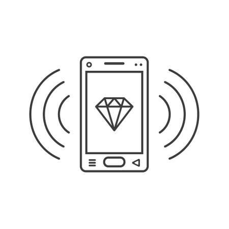 black and white line art ringing smartphone icon with a diamond sign and wave waves