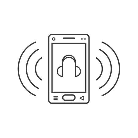black and white line art ringing smartphone icon with a headphone sign and wave waves