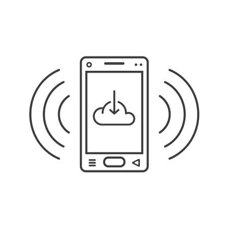 black and white line art ringing smartphone icon with a sign of loading in the cloud and wave waves
