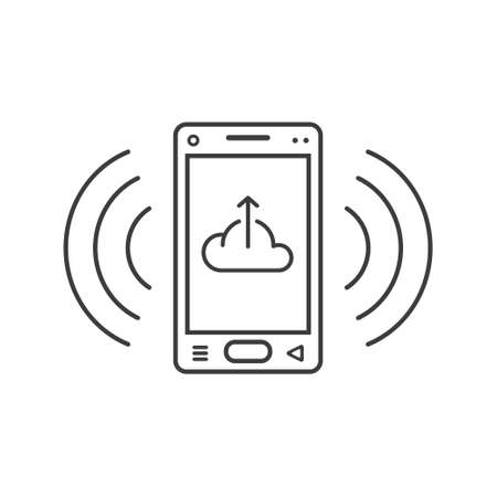 black and white line art ringing smartphone icon with a sign of downloading from the cloud and wave waves